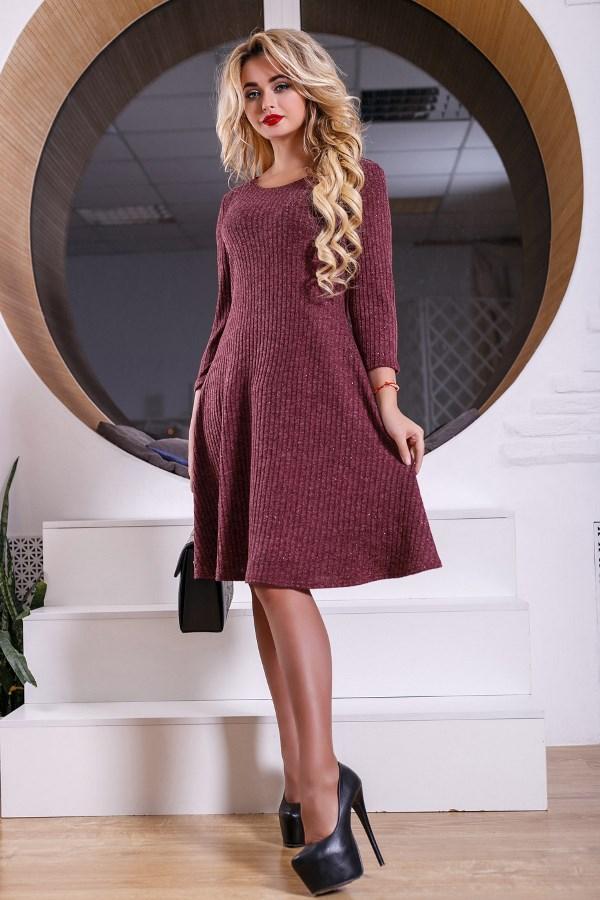 98d3c7f315234d2 Трикотажное платье бордового цвета Д-522 4411887 (4411887) по ...
