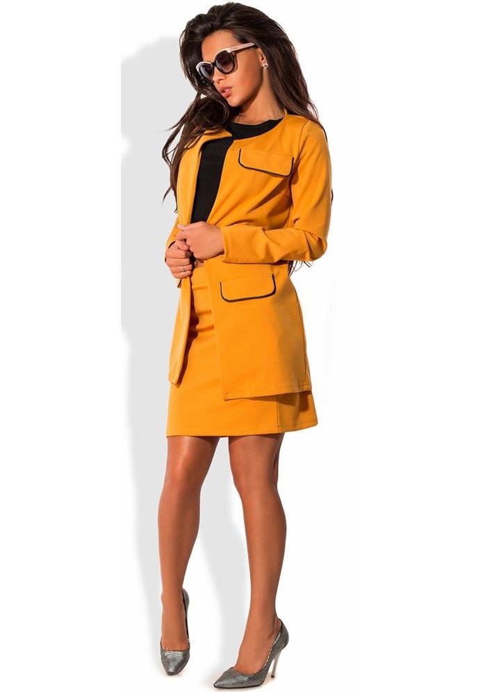 Жовтий костюм-трійка: кардиган спідниця і майка - SvitStyle