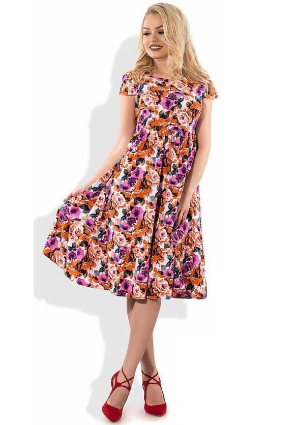 8e147cf64cf46c Пишне літнє плаття з квітковим принтом Д-1118 (5190767) за доступною ...