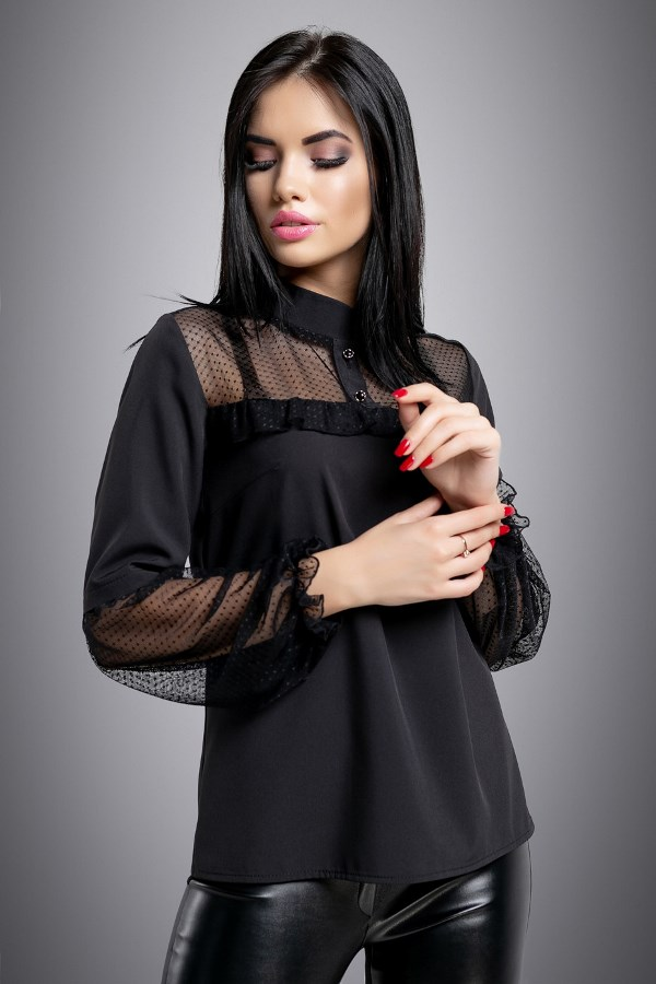 Чорна блуза зі вставками із сітки в горошок СК-565 - SvitStyle
